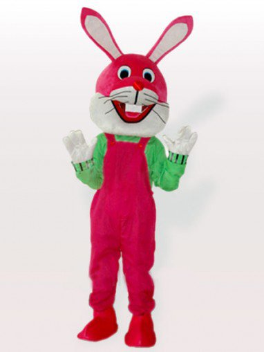 Funny Bunny in Pink Bib Overalls Adult Mascot Costume