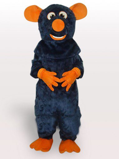 Big Tooth Black Plush Moust Adult Mascot Costume