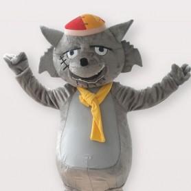 Gray Wolf Short Plush Adult Mascot Costume