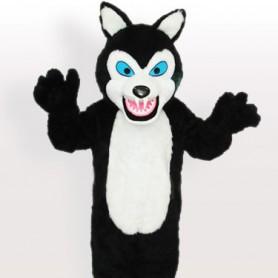 Long Plush Black Wolf Adult Mascot Costume
