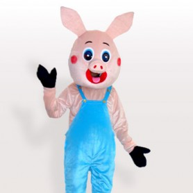 Mr. Pig in Bib Overalls Adult Mascot Costume