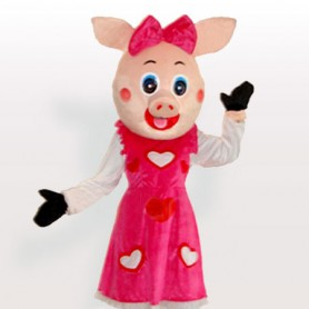Smiling Piggy Girl Adult Mascot Costume