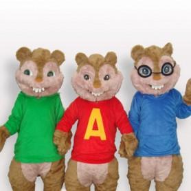 Squirrel Family Short Plush Adult Mascot Costume