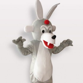 Timber Wolf Short Plush Adult Mascot Costume
