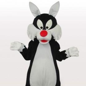White Mouth Wolf Short Plush Adult Mascot Costume