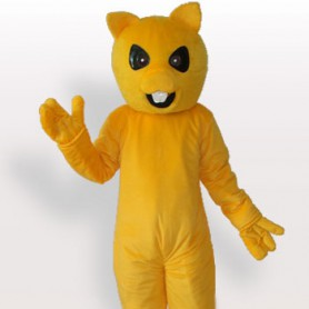 Cool Yellow Bear Short Plush Adult Mascot Costume
