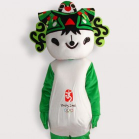 Fuwa Green Short Plush Adult Mascot Costume
