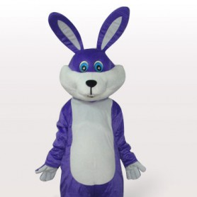 Purple Rabbit Short Plush Adult Mascot Costume