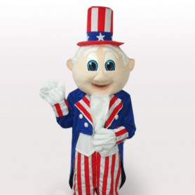 Uncle Sam Short Plush Adult Mascot Costume