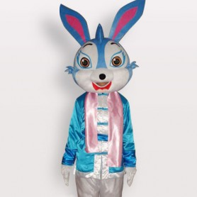 Blue Rabbit Short Plush Adult Mascot Costume