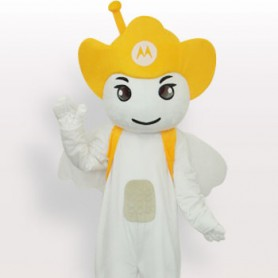 Yellow Moto Angel Short Plush Adult Mascot Costume