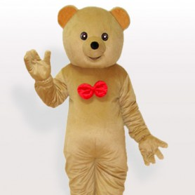 Elder Brother Grizzly with Red Bowknot on the Chest Adult Mascot Costume