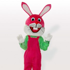 Funny Bunny in Pink Bib Overalls Adult Mascot Costume