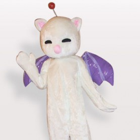 Ideal Pink Nose White Cat Short Plush Adult Mascot Costume