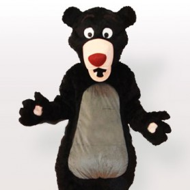 Obese Cartoon Moon Bear Adult Mascot Costume