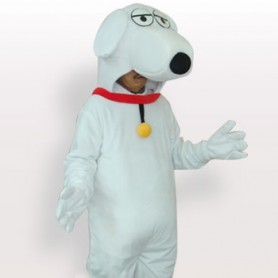Unusual White Dog Short Plush Adult Mascot Costume