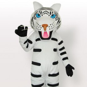 Suitable White Tiger with Black Stripes Adult Mascot Costume