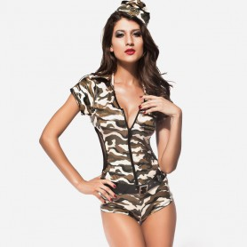 Sexy Singer Short - Sleeved Military Green Coveralls Halloween Costume