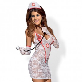 European and American Sexy Sexy Transparent Lace Nurse Stethoscope Uniform Stage Installation Halloween Costume