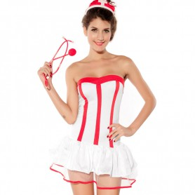 Halloween Intimate Love A Word Collar Peng Peng Skirt Nurse Installed Europe and The United States Uniform Halloween Costume