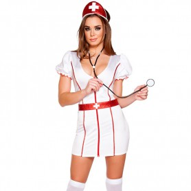 Halloween Role - Playing Sexy Nurse Short - Sleeved V - Neck Stage Fitted Three - Piece Halloween Costume