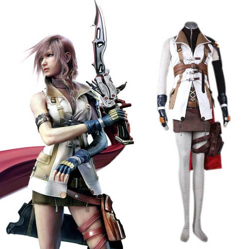 Final Fantasy XIII 13 Lightning Halloween Cosplay Costume