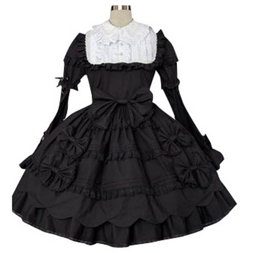 Black And White Classic Lolita Halloween Cosplay Dress