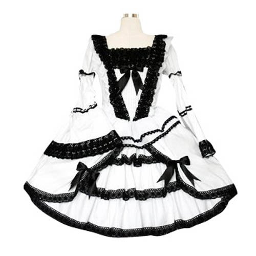 Black And White Lace Trimmed Gothic Lolita Halloween Cosplay Dress
