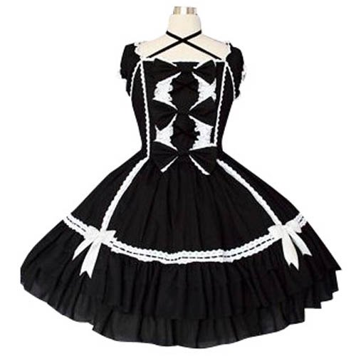 Black And White Puff Sleeves Gothic Lolita Halloween Cosplay Dress