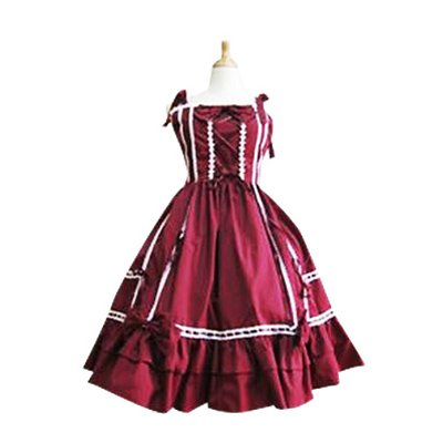 Bow Decoration Crocheted Lace Trimmed Lolita Halloween Cosplay Dress