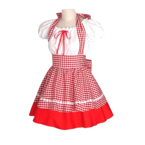 Cute Red Plaid Maid Halloween Cosplay Lolita Halloween Cosplay Costume