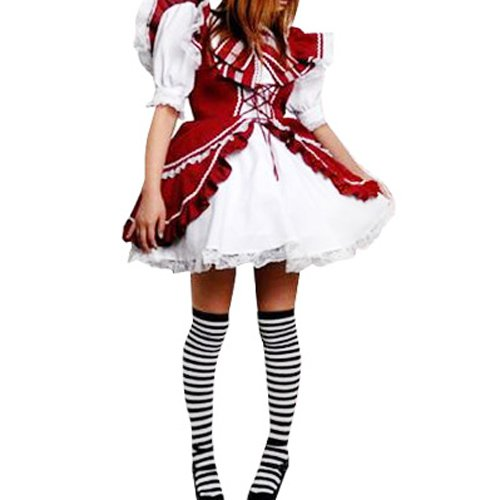 Red And White Lace Trimmed Lolita Halloween Cosplay Dress