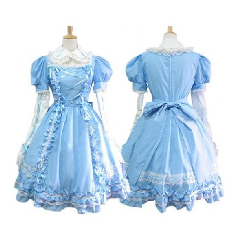 Sweet Blue Maid Dress Lolita Halloween Cosplay Costume