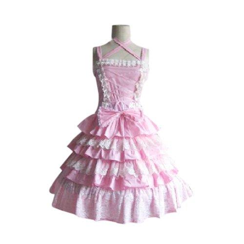 Stunning Tiered Ruffles Pink Dress Lolita Halloween Cosplay Costume