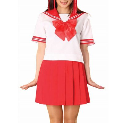 Red Short Sleeves Sailor School Uniform Halloween Cosplay Costume