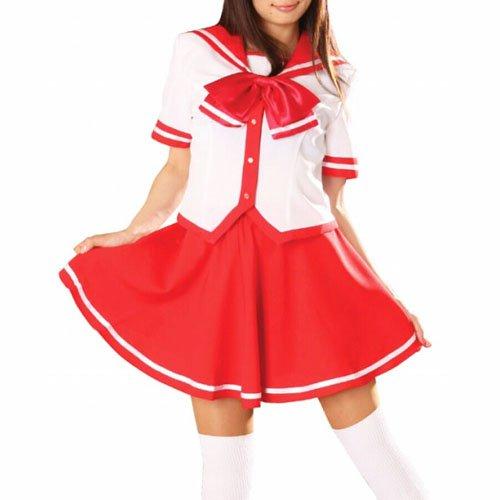 Red Short Sleeves School Uniform Halloween Cosplay Costume