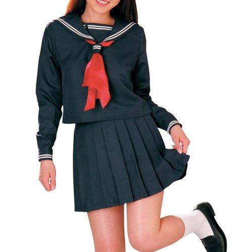 Cheap Deep Blue Long Sleeves School Uniform
