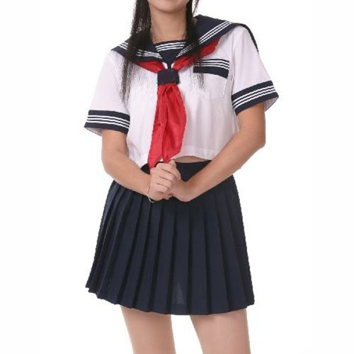 Deep Blue And White Short Sleeves Sailor Halloween Cosplay Schoo