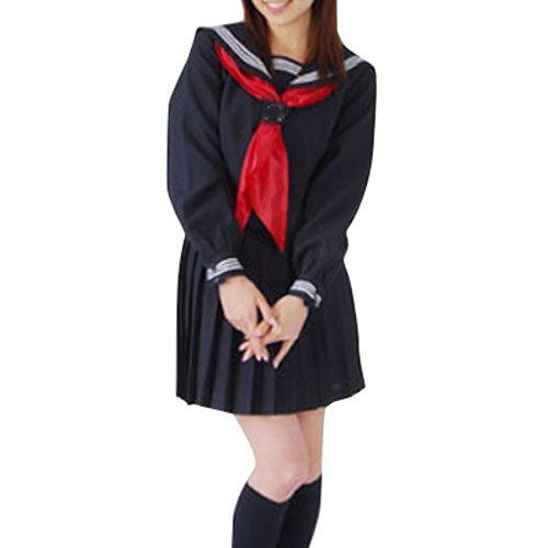 Deep Blue Long Sleeves  Halloween Cosplay School Uniform