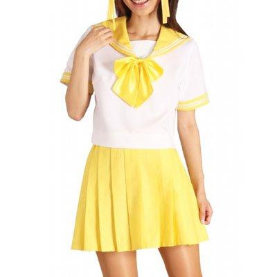 Yellow Short Sleeves Sailor School Uniform Halloween Cosplay Costume