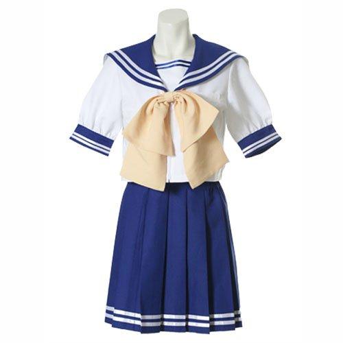 Blue And White Short Sleeves Sailor School Uniform