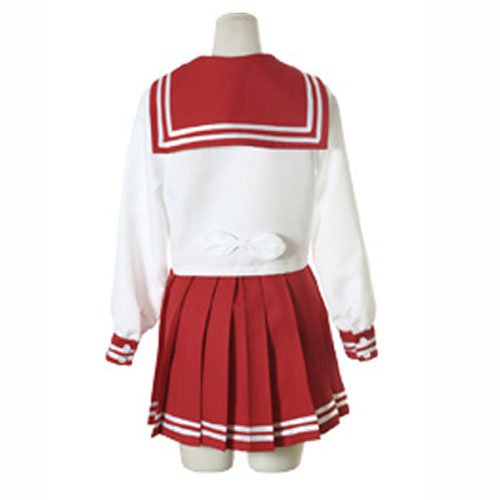 White And Red Long Sleeves Sailor School Uniform