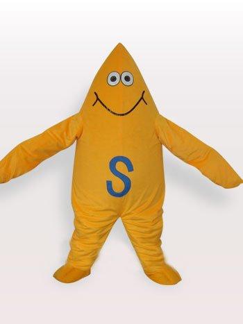 Top Yellow Starfish Short Plush Adult Mascot Costume