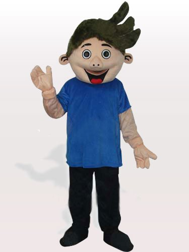 Little Boy in Blue Shirt Adult Mascot Costume