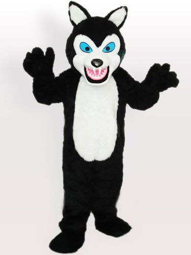 Long Plush Black Wolf Adult Mascot Costume
