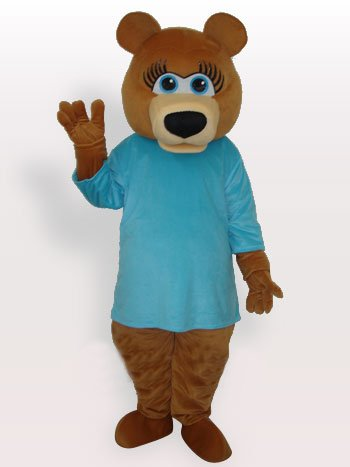 Suitable Superior Blue Bear Short Plush Adult Mascot Costume