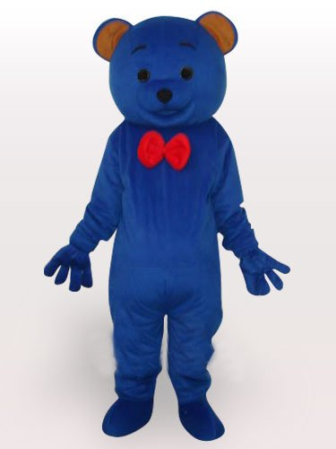 Blue Teddy Bear Short Plush Adult Mascot Costume