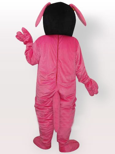 Pink Dog with Yellow Belly and Glasses Adult Mascot Costume