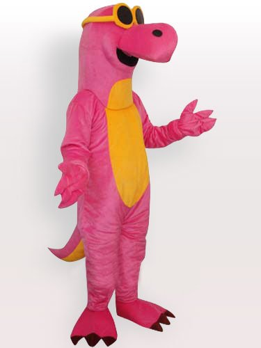 Pink Dragon with Yellow Belly and Glasses Adult Mascot Costume