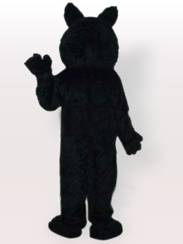 Plush Small Black Wolf with Grinning Teeth Adult Mascot Costume